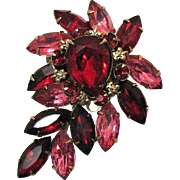Gorgeous Vintage Rhinestone Red Fuchsia Waterfall Brooch