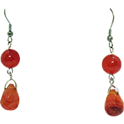 New Old Stock Vintage Stainless Steel Baltic Amber Beaded Briolette Dangle Pierced Earrings Unworn