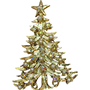 Spectacular Signed Tancer Christmas Tree Vintage Faux Pearl Rhinestones Brooch