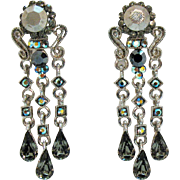 Vintage Hematite AB Rhinestones Silver Metal Pierced Earrings 2 ¼ Long