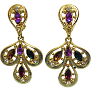 Super Nice Vintage 1980s Marquise Rhinestone Bold Clip Earrings 2 3/4 Long