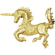 Fine Vintage 14K Gold Figural Diamond Cut Unicorn Pendant