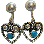 Sterling Silver Vintage Turquoise Heart Dangle Screw Back Earrings