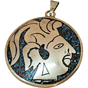 Aztec Warrior Vintage Sterling Silver Coral Turquoise Chip Inlay Double Sided Pendant Necklace