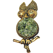 Vintage Antique Gold Metal Jade Figural Owl Brooch