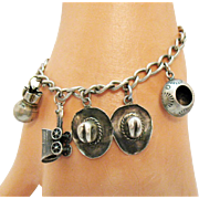 Very Old Sterling Silver Vintage Mexico Western Theme Charm Bracelet
