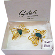 Vintage Signed Lisner Golden Cultured Pearl Jade Butterfly Scatter Pins Brooches Original Box