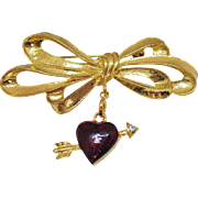 Vintage Unusual Signed Pfister Enterprises 1996 Enameled Heart Arrow Bow Brooch