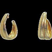 Vintage Golden Double Ribbed Wire Hoop Pierced Earrings