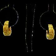 Signed Napier Vintage Golden Etruscan Hoop Screw Back Earrings