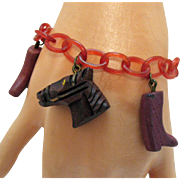 Awesome Vintage Celluloid Chain Wood Charm Cowgirl Motif Bracelet