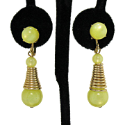 Mid Century Modern Dangle Luminous Yellow Glass Beaded Vintage Screw Back Earrings