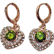 Vintage Rose Gold Pava CZ Faux Emerald Heart Pierced Earrings