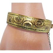 Retro Modern Period Vintage Hand Tooled Floral Hinged Bangle Bracelet 1938
