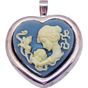 Signed Milor Italy 925 Wedgewood Jasperware Figural Vintage Mother and Child Heart Brooch Pendant
