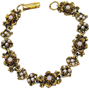 Amazing Vintage Intricate Floral Faux Seed Pearl Link Bracelet