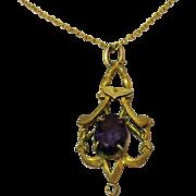 Antique Art Nouveau 14K Gold Amethyst Pendant Necklace
