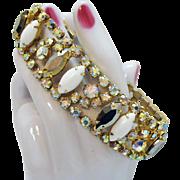 Vintage High End Unsigned Designer White Glass Aurora Borealis Rhinestone Bracelet