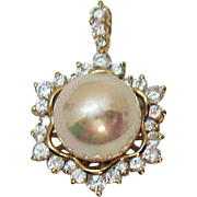 Signed PAJ 925 Yellow Gold Over Sterling Silver HUGE Vintage Faux Pearl Cubic Zirconia Pendant