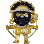 Rare Vintage Unsigned Hattie Carnegie Lapis Color Aztec Warrior Brooch