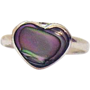 Vintage Hand Tooled Mexico Sterling Silver Abalone Heart Ring