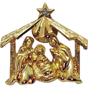 Delightful Figural Manger Nativity Joseph Mary Baby Jesus Vintage Clutch Pin