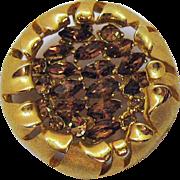Signed BSK Unique Vintage Sun Flower Rhinestone Brooch