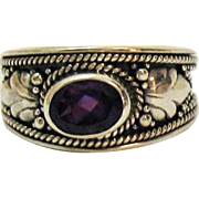 Stunning Vintage 925 Sterling Silver Indonesia Amethyst Floral Band Ring