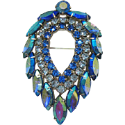 Signed Sarah Coventry by Juliana D&E DeLizza & Elster Vintage Blue Lagoon Rhinestone Brooch Book Piece 1964