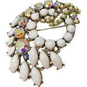 Signed Art Vintage White Milk Glass Aurora Borealis Rhinestone Brooch
