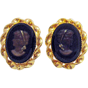 Vintage Glass Chocolate Brown Cameo Clip Earrings