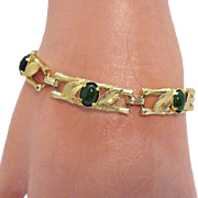 Signed Karen Lynne Charles Rothman Co Nephrite Jade Bamboo Vintage Bracelet