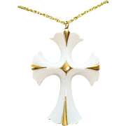 Fabulous Bold Vintage White Enameled Cross Pendant Necklace