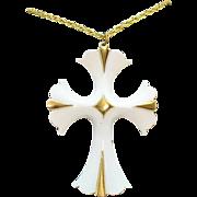 Fabulous Bold Vintage White Enameled Cross Pendant Necklace