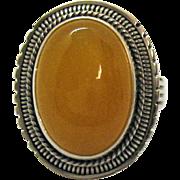 Vintage Egg Yolk Amber Sterling Silver 925 Bold Ring Unworn Size 6