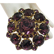 Magnificent Vintage Amethyst Colored Rhinestone Brooch