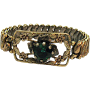Signed Co-Star Sterling Silver 1940s Gold Vermeil Expansion Bracelet Emerald Green Rhinestone