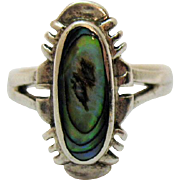 Beautiful Vintage Sterling Silver 925 Abalone Inlay Ring
