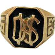 Classic Art Deco 10K Gold Vintage Onyx Initial Ring DHS 1923