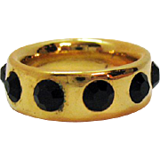 Vintage 14K Yellow Gold Plated Black CZ Comfort Fit Eternity Band Ring