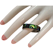 Vintage Peacock Abalone Silver Metal Eternity Abalone Inlay Band Ring