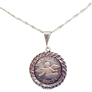 Gorgeous Sterling Silver .999 Silver Guardian Angel Medallion Pendant Necklace Made in Italy