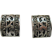 Signed Lois Hill Hand Crafted Sterling Silver Vintage 925 Clip Earrings
