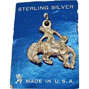 Unusual Vintage Sterling Silver Cowboy with Horse Charm Original Card