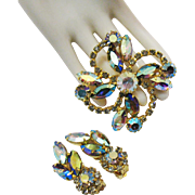 Stunning Aurora Borealis Rhinestone Vintage Flower Spray Brooch Earrings Set