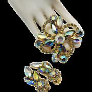 Stunning Aurora Borealis Rhinestone Vintage Flower Spray Brooch Earrings Set