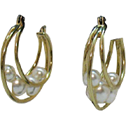 Vintage Golden Hoop Caged Faux White Pearl Pierced Earrings