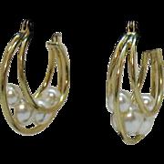 Vintage Golden Hoop Caged Faux White Pearl Pierced Earrings