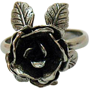 Fun Vintage Silver Costume Jewelry Rose Ring