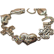 Vintage Words of Encouragement Costume Jewelry Bracelet